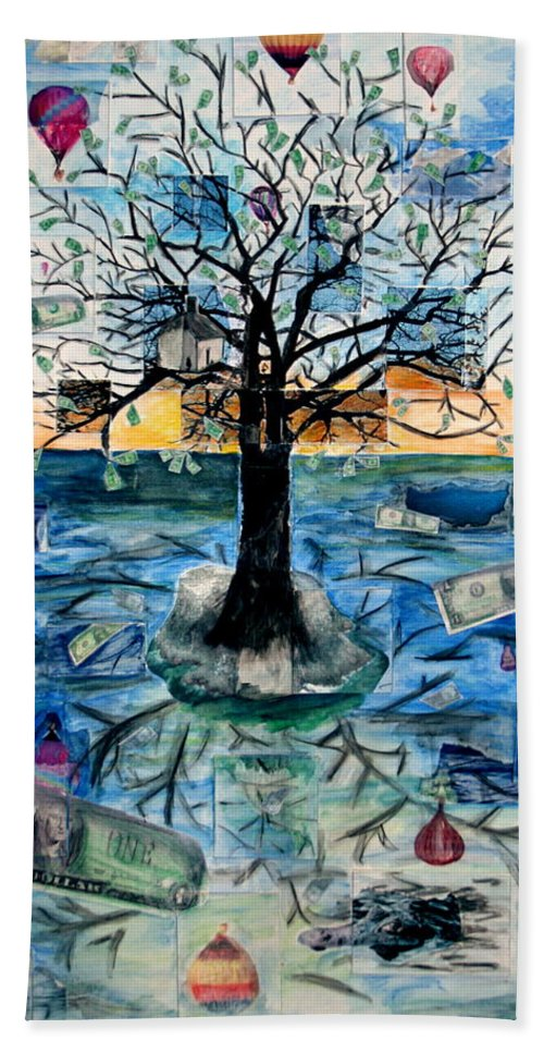 Hot Air Balloons Beach Sheet featuring the painting The Money Tree by Kate Fortin