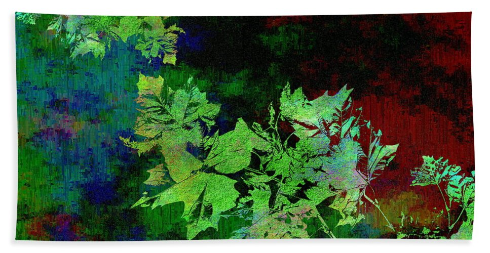 Abstract Beach Towel featuring the digital art The Painted Arbor by Tim Allen