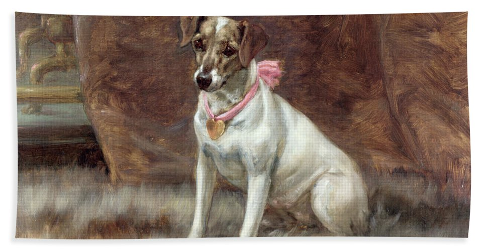 The Pink Bow Beach Towel featuring the painting The Pink Bow by Maud Earl