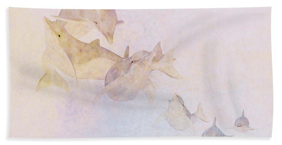 Dolphin Beach Towel featuring the digital art The Pod by John Edwards