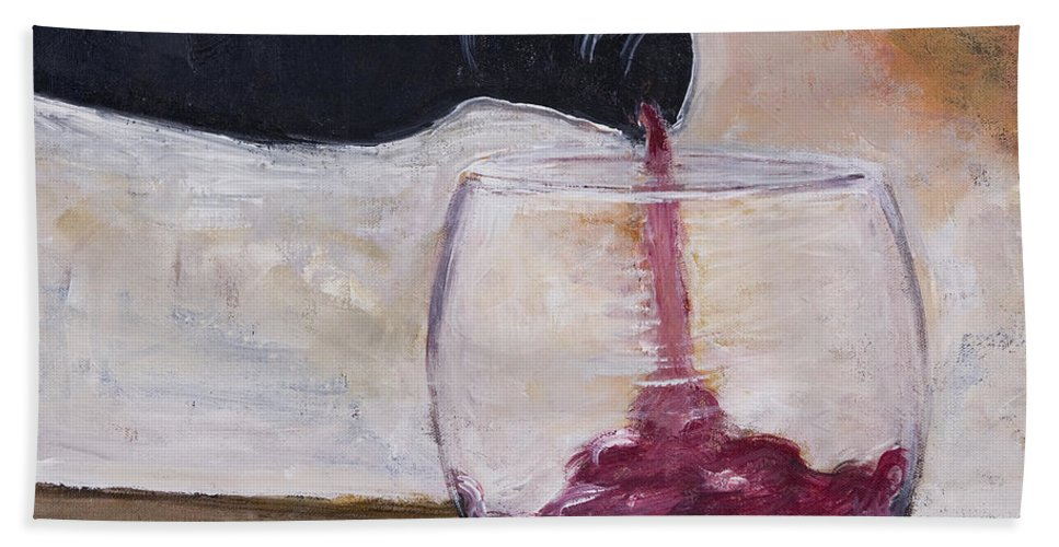 Red Wine Beach Towel featuring the painting The Pour by Boni Arendt