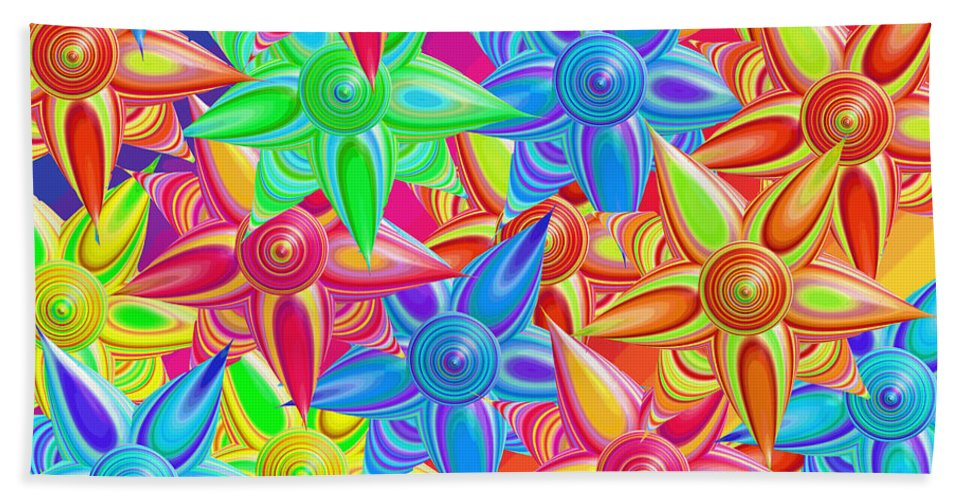 Abstract Beach Towel featuring the digital art The Power Of Flowers by Betsy Knapp