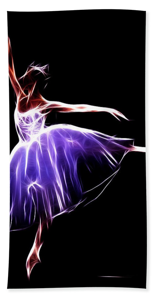 Ballet Ballerina Dance Dancing Princess Erotic Female Girl Woman Sexy Expressionism Wonderful Art Elegant Pretty Lovely Gracefully Painting Dancer Dream Electric Energy Dynamic Motion Abstract Beach Towel featuring the digital art The Princess Dancer by Steve K
