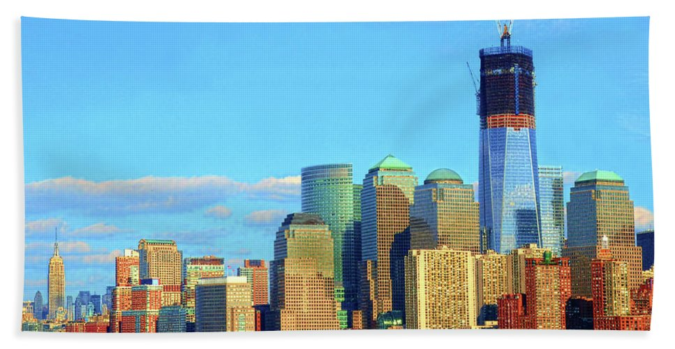 Freedom Tower Beach Towel featuring the photograph The Rising Freedom Tower by Dave Mills