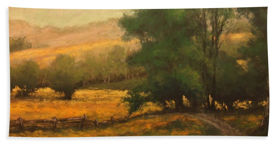 Painting Beach Towel featuring the painting The Road Less Traveled by Jim Gola