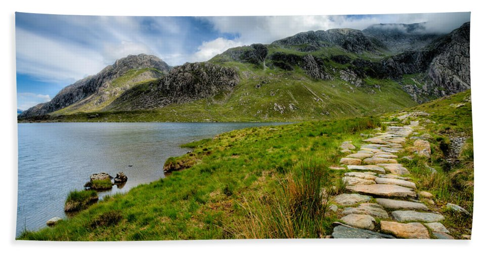 Clouds Beach Towel featuring the photograph The Rocky Path by Adrian Evans