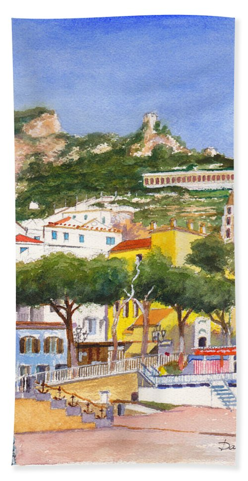Beach Beach Towel featuring the painting The Ruined Tower Above The Beach At Amalfi On The Southern Italian Coast by Dai Wynn