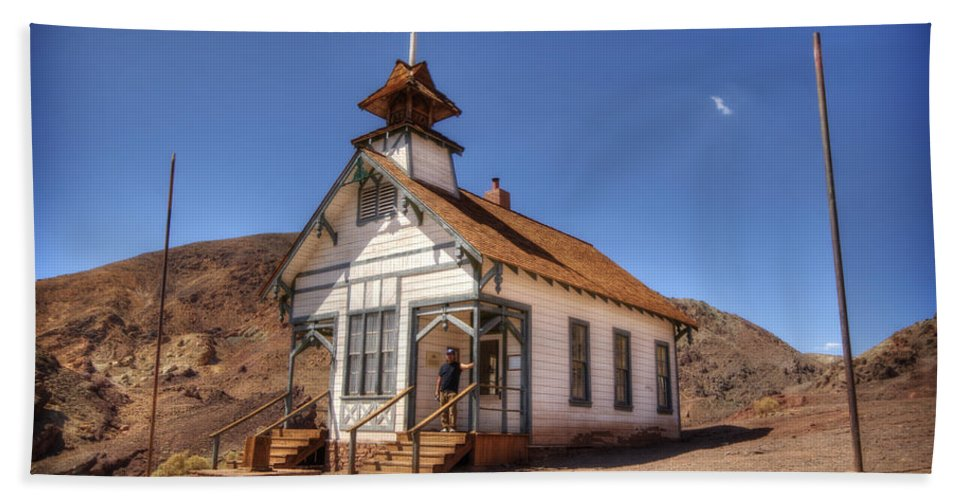 Calico Ghost Town Beach Towel featuring the photograph The School House by Jessica Velasco