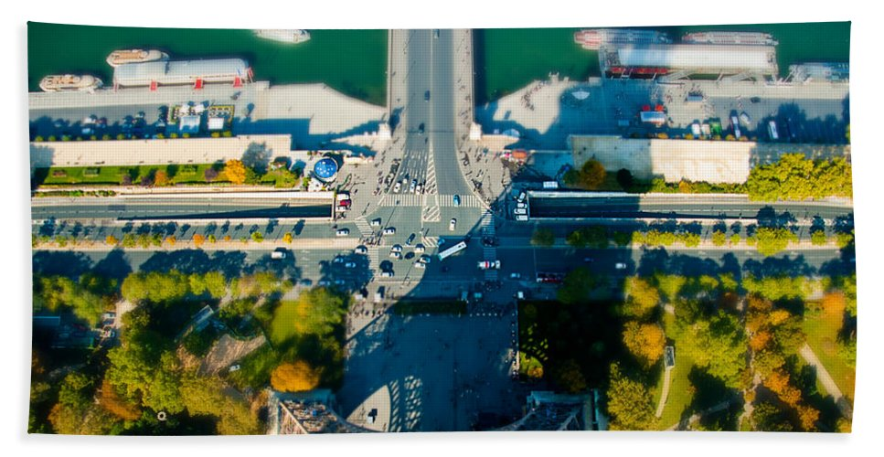 Paris Beach Towel featuring the photograph The Shadow Of The Eiffel Tower by Beth Riser