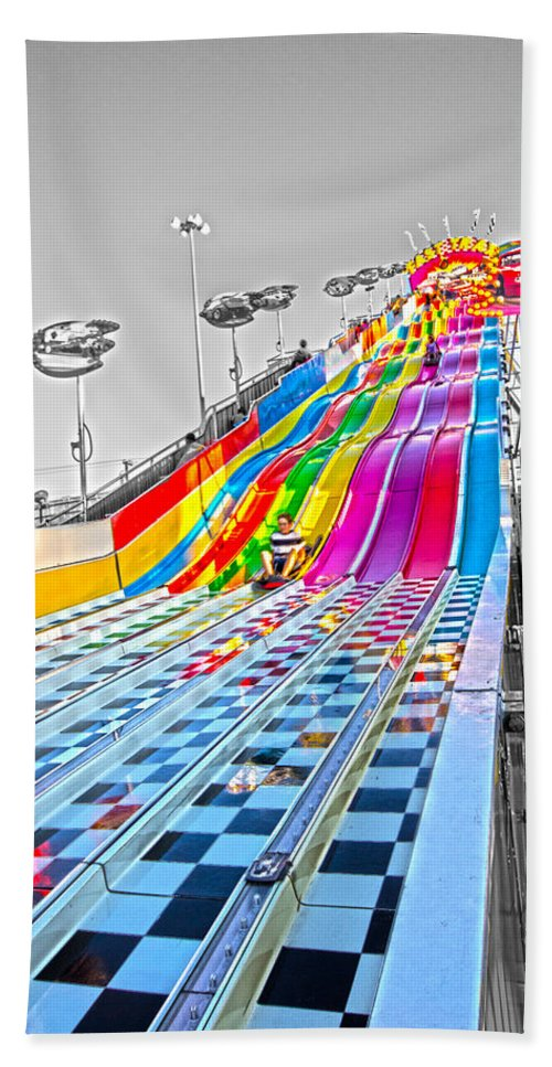 Slide- State Fair Of Texas Beach Towel featuring the photograph The Slide by Douglas Barnard
