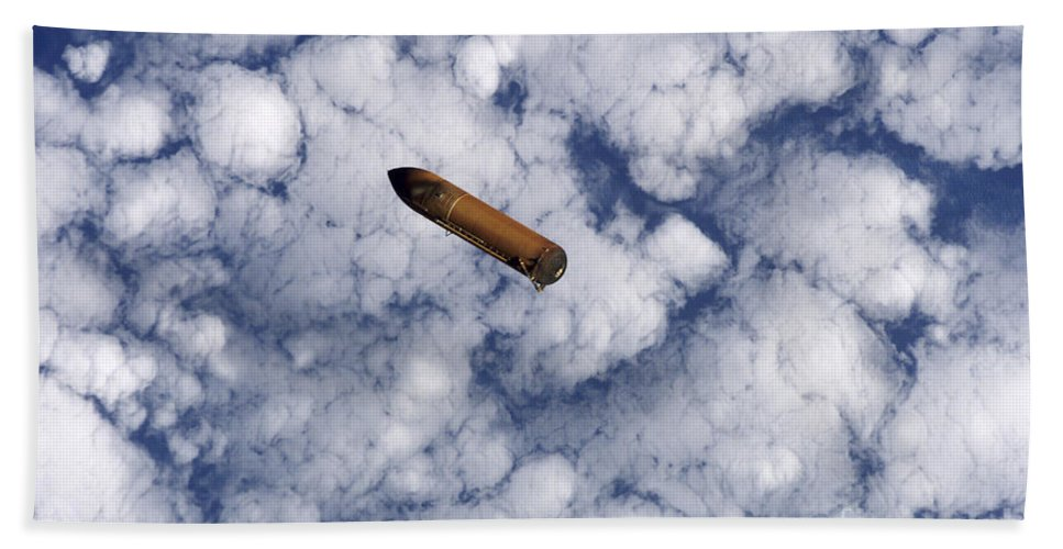 Atmosphere Beach Towel featuring the photograph The Space Shuttles External Fuel Tank by Stocktrek Images