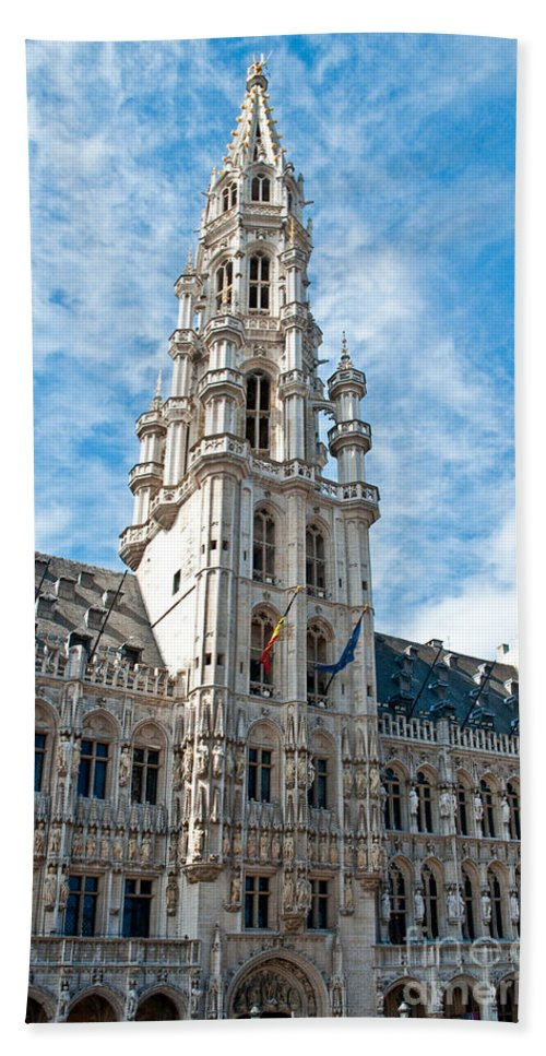 Municipality Beach Towel featuring the photograph the Spire of Brussels by Jim Chamberlain