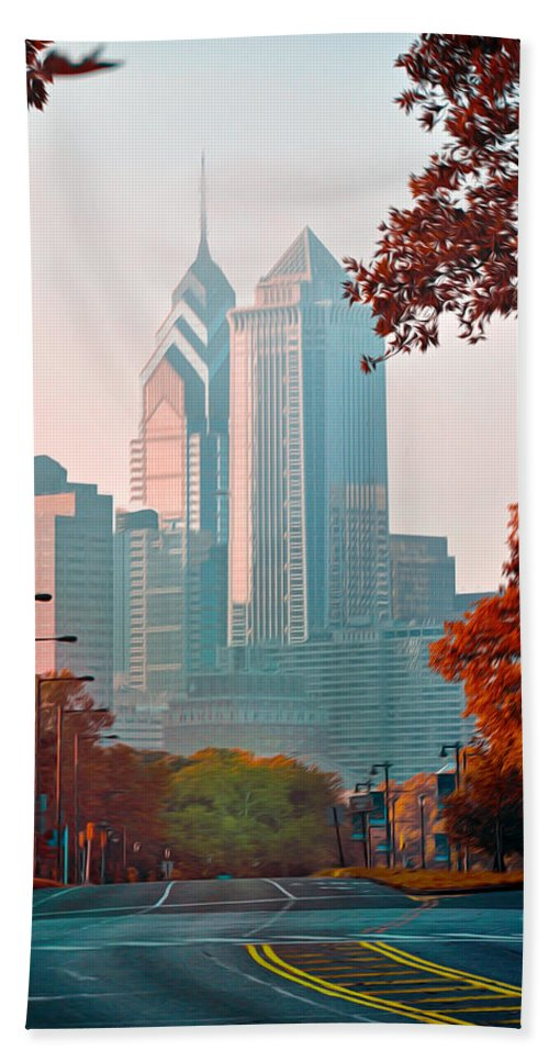 The Streets Of Philadelphia Beach Towel featuring the photograph The Streets Of Philadelphia by Bill Cannon
