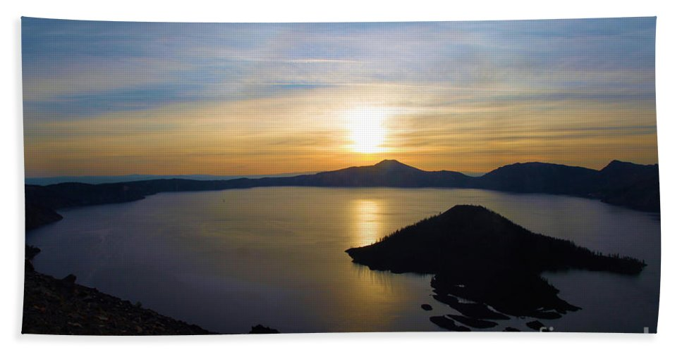 Crater Lake National Park Beach Towel featuring the photograph The Sun And The Wizard by Adam Jewell