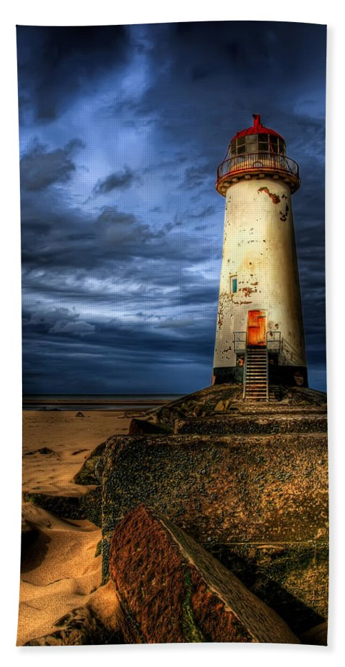 Lighthouse Beach Towel featuring the photograph The Talacre Lighthouse by Adrian Evans