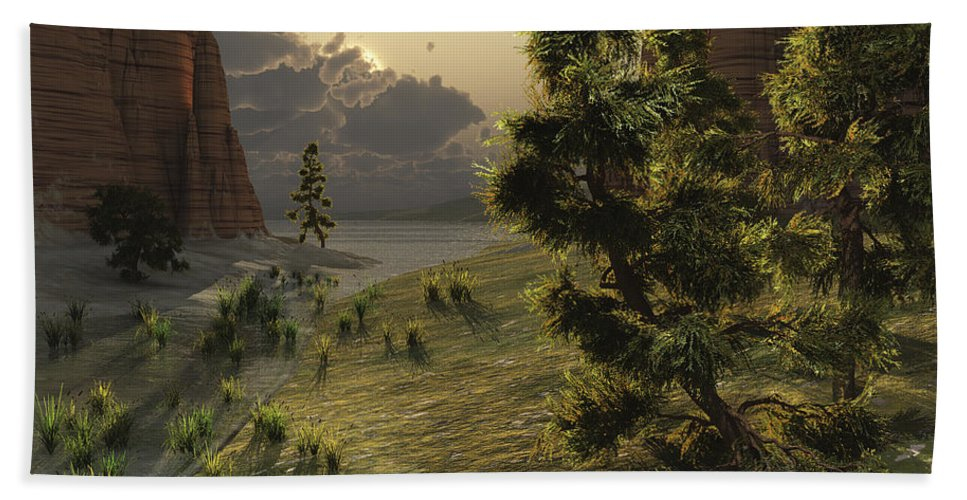 Barren Beach Towel featuring the digital art The Trees Are Kissed By Sunlight by Corey Ford