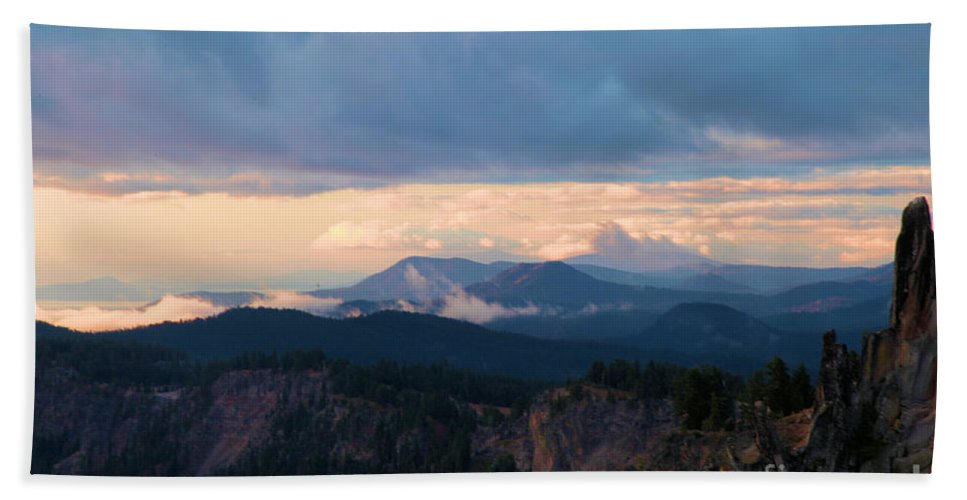 Crater Lake National Park Beach Towel featuring the photograph The Watchman by Adam Jewell