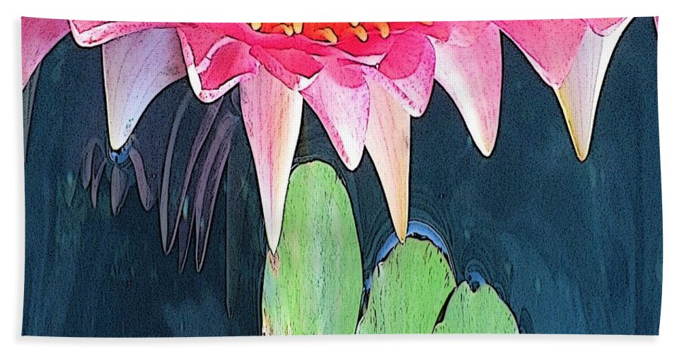Water Lily Beach Towel featuring the digital art The Water Lily Unleashed by Tim Allen
