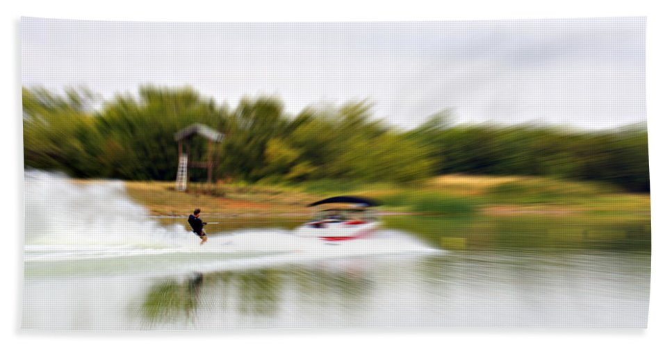 The Water Skier Beach Towel featuring the photograph The Water Skier 3 by Douglas Barnard