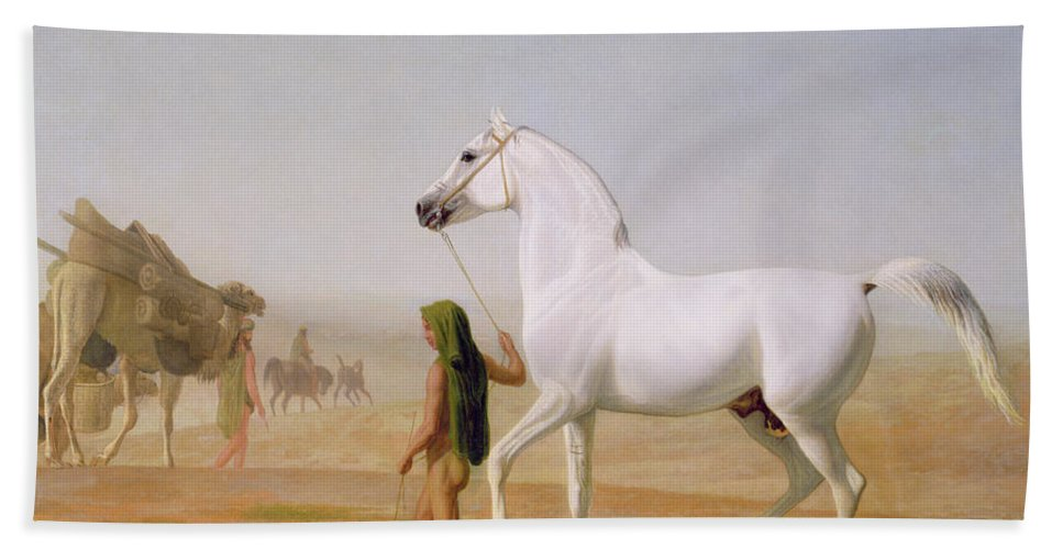 The Beach Towel featuring the painting The Wellesley Grey Arabian Led Through The Desert by Jacques-Laurent Agasse