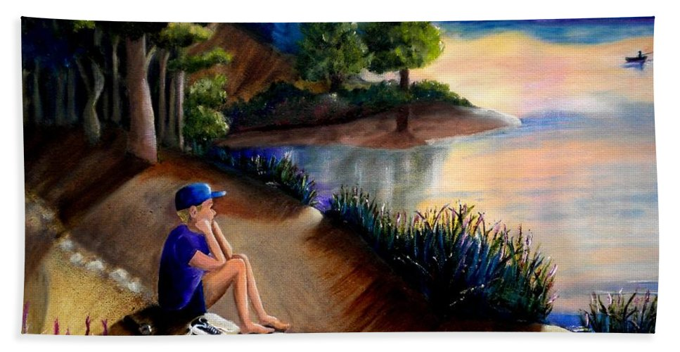 Sunset Beach Towel featuring the photograph The Wish To Fish by Renate Nadi Wesley