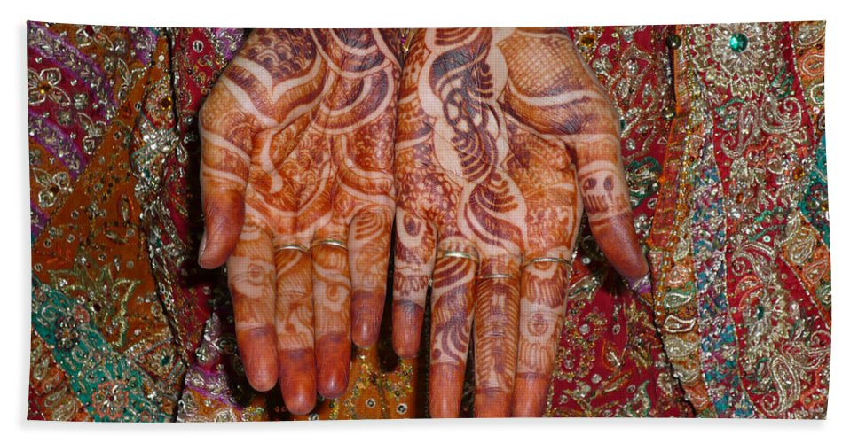Clothes Beach Towel featuring the photograph The Wonderfully Decorated Hands And Clothes Of An Indian Bride by Ashish Agarwal