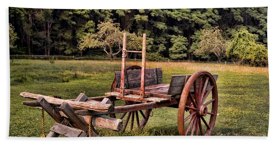 Cart Beach Towel featuring the photograph The Wooden Cart by Paul Ward