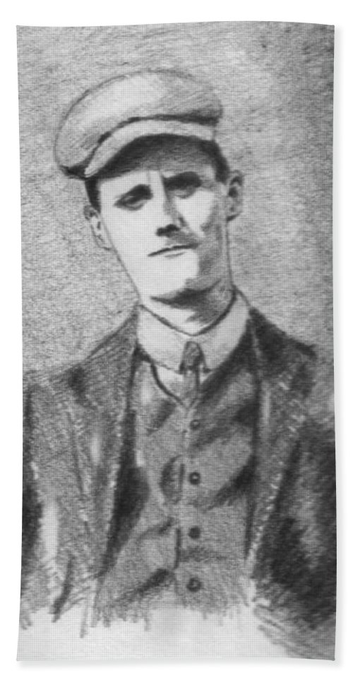 Pencil Beach Towel featuring the drawing The Young James Joyce by John Nolan