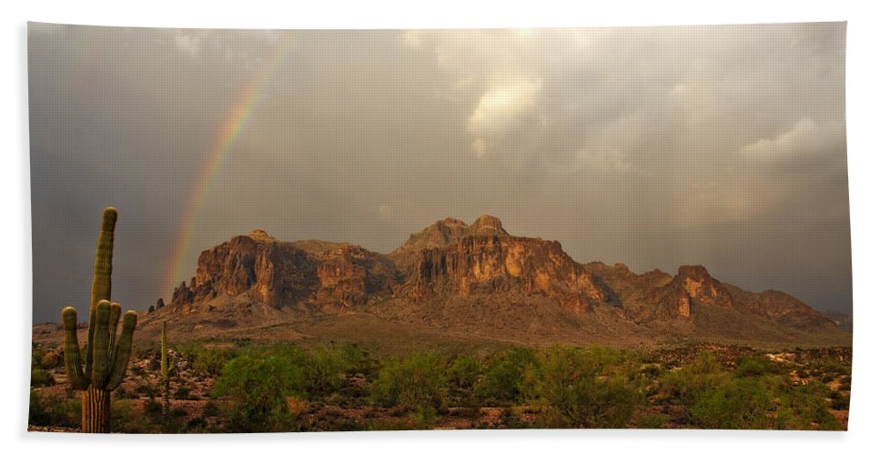 The Superstition Mountains Beach Towel featuring the photograph There's Gold At The End Of The Rainbow by Saija Lehtonen