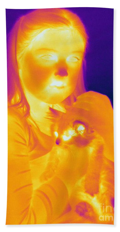 Thermogram Beach Towel featuring the photograph Thermogram Of A Girl And Cat by Ted Kinsman
