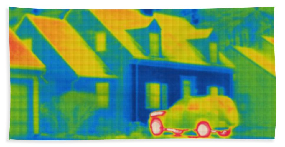 Thermogram Beach Towel featuring the photograph Thermogram Of Car In Front Of A House by Ted Kinsman