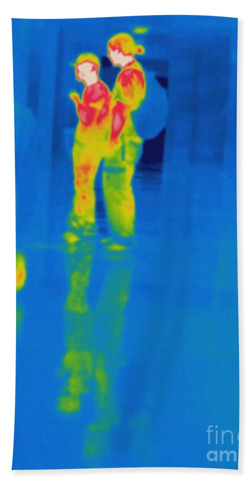 Thermogram Beach Towel featuring the photograph Thermogram Of Students At A Locker by Ted Kinsman
