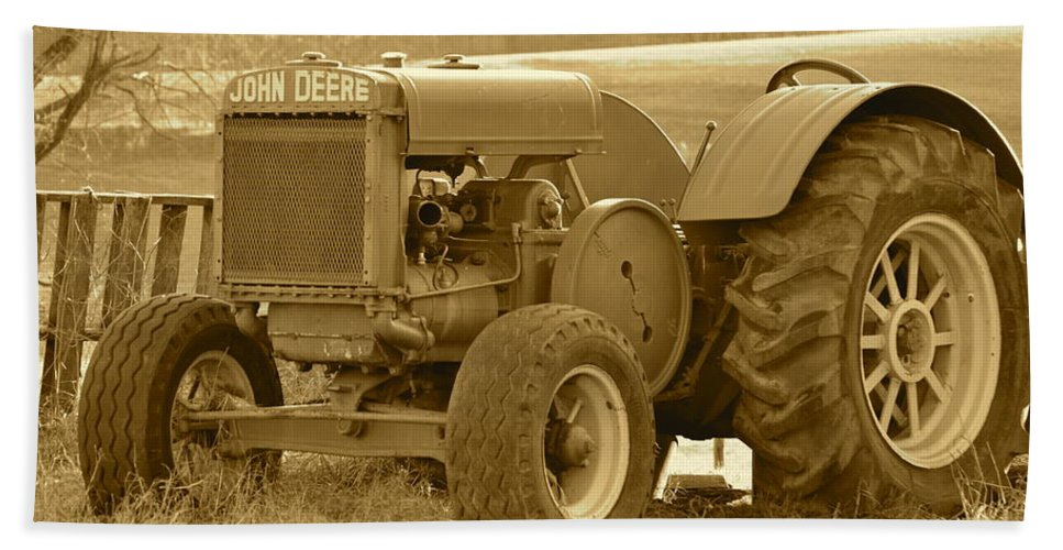 J.d. Grimes Beach Towel featuring the photograph This Old Tractor by JD Grimes