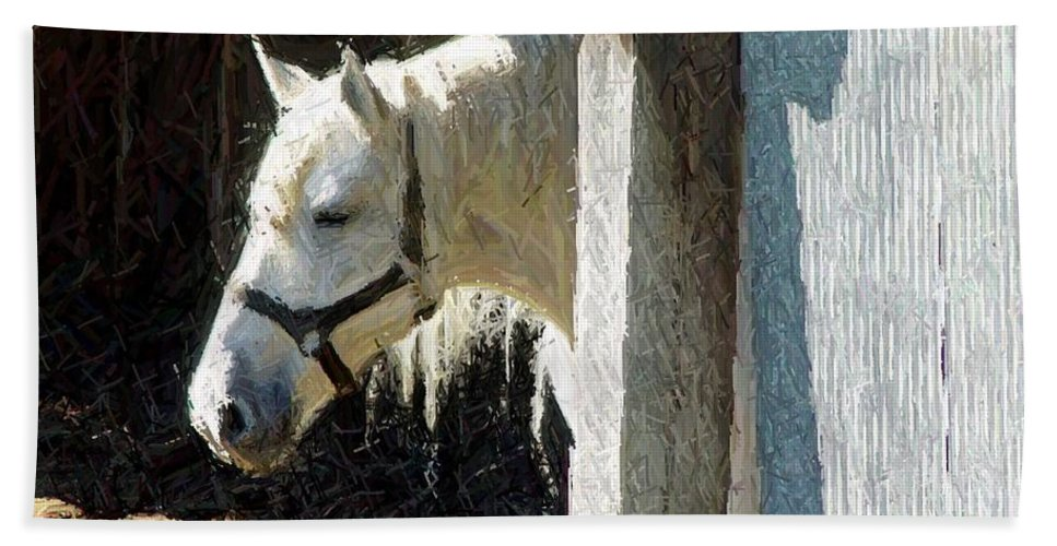Horse Beach Towel featuring the digital art Thoughtful by Barkley Simpson