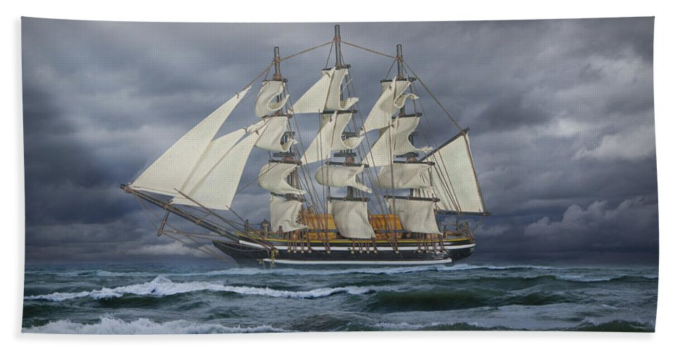 Art Beach Towel featuring the photograph Three Masted Ship by Randall Nyhof