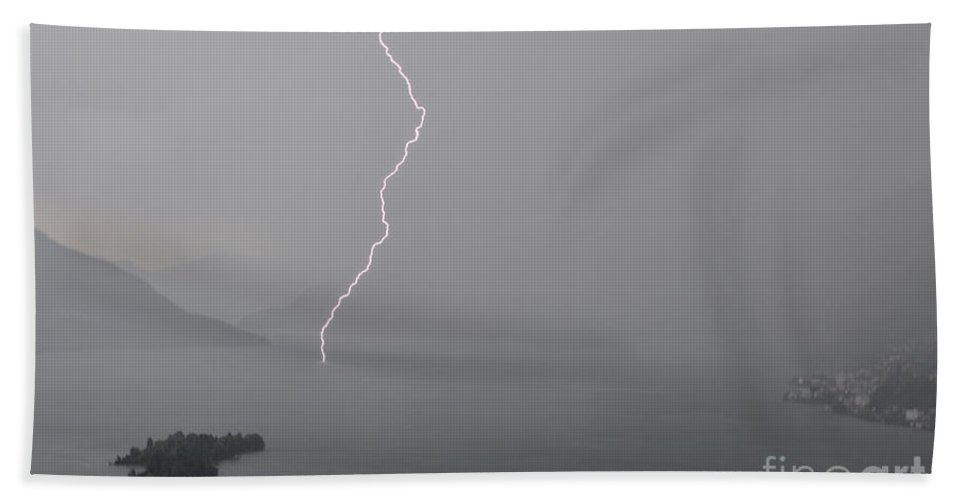 Lightning Beach Towel featuring the photograph Thunderbolt And Island by Mats Silvan