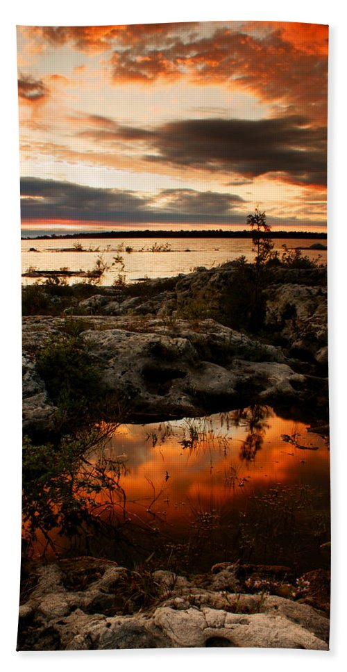 Sunset Beach Towel featuring the photograph Tide Pool by Cale Best