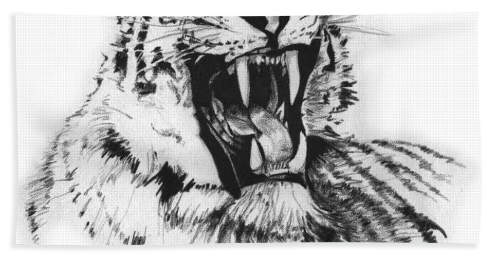 Tiger Beach Towel featuring the drawing Tiger by Patrice Clarkson