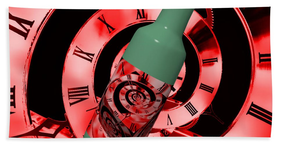 Time In A Bottle Beach Towel featuring the photograph Time In A Bottle Red by Steve Purnell