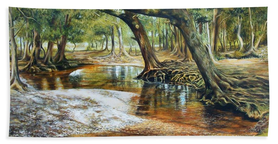 Nature Beach Towel featuring the painting Time To Reflect by Penny Golledge