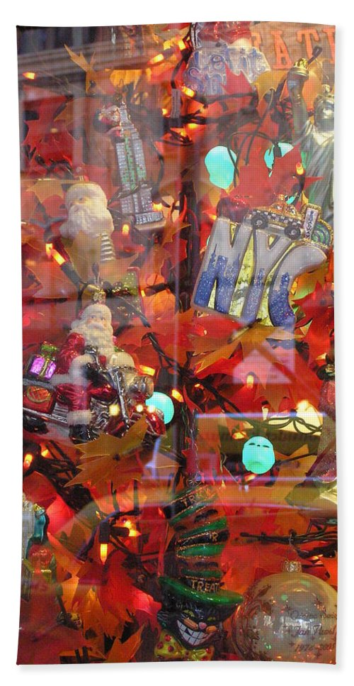 Reflections Beach Towel featuring the photograph Times Square Reflections by Stefa Charczenko