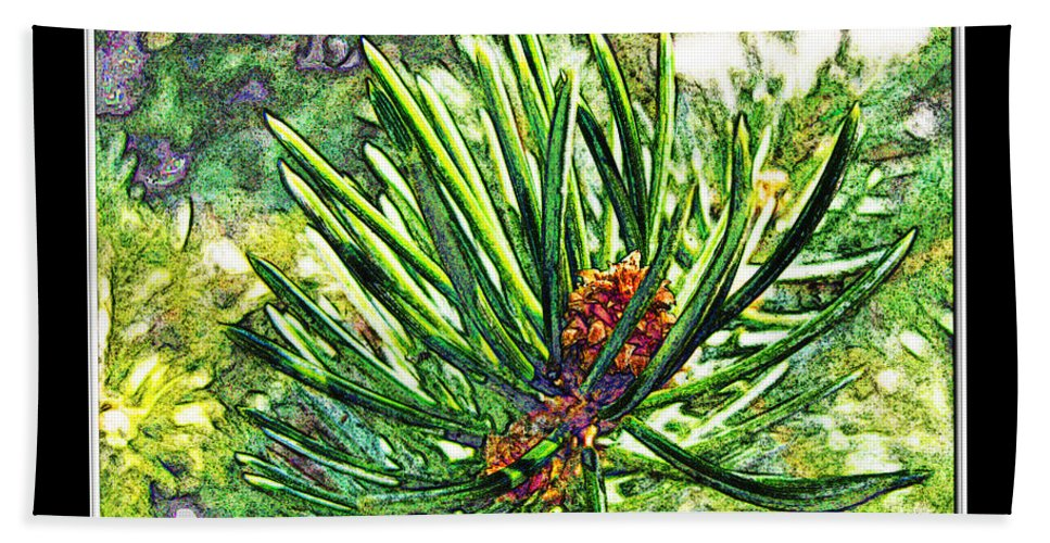 Nature Beach Towel featuring the digital art Tiny New Pine Cones by Debbie Portwood