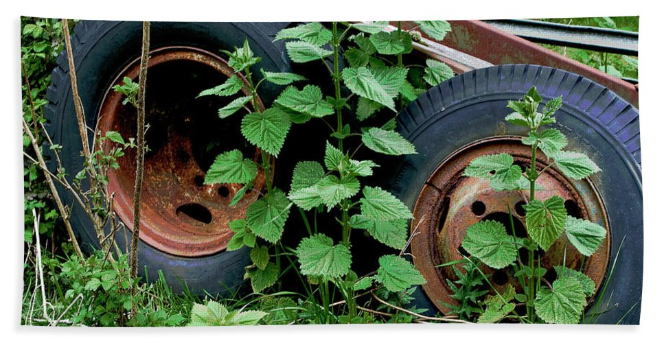 Tires Beach Towel featuring the photograph Tires And Ivy by Lorraine Devon Wilke