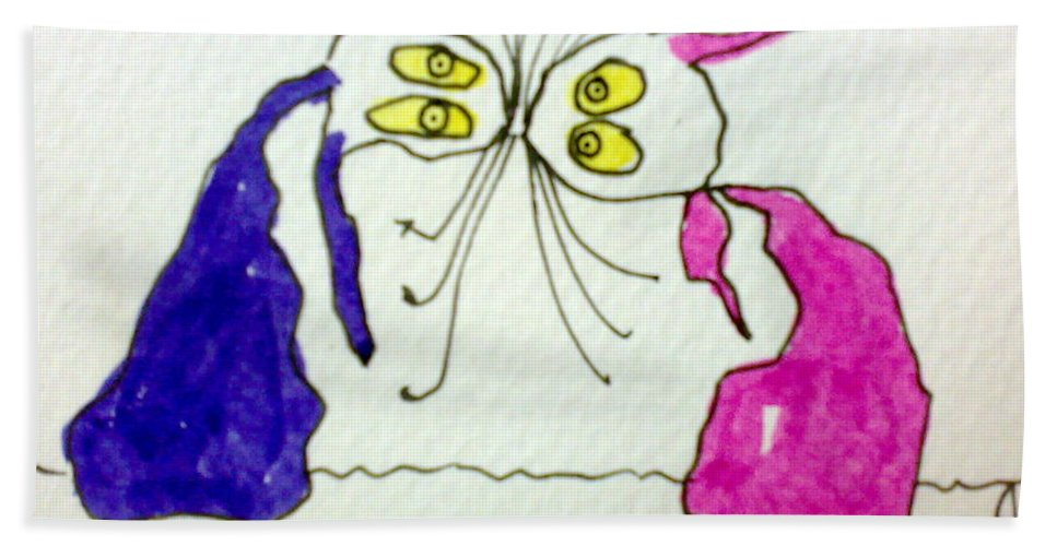 Elvis Beach Towel featuring the painting Tis Kissing Cousins by Tis Art