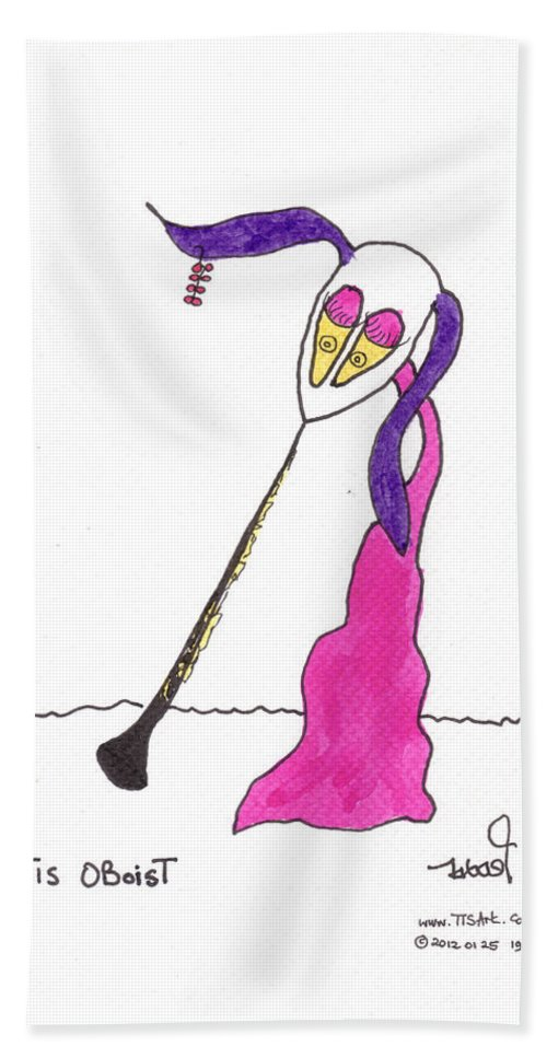Oboe Beach Towel featuring the painting Tis Oboist by Tis Art