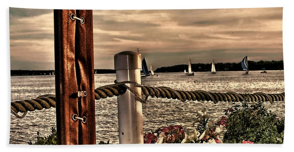 Oceans Beach Towel featuring the photograph Top Of The Bay by Tom Prendergast