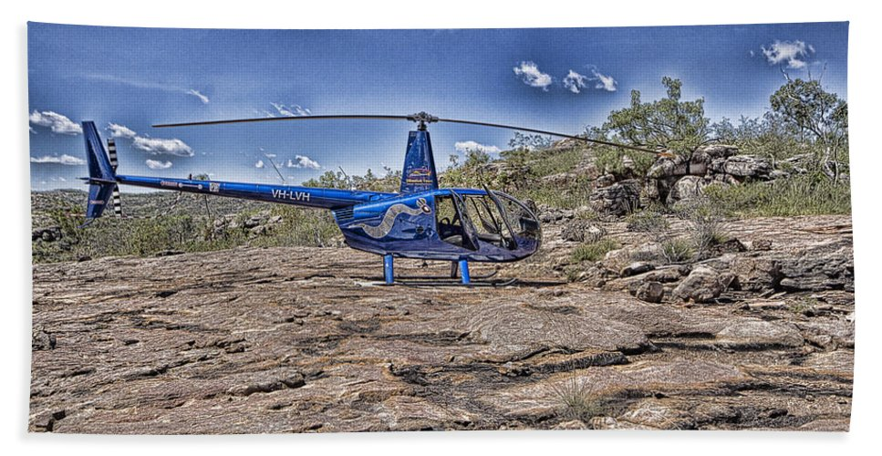 Helicopter Beach Towel featuring the photograph Top of the Gorge by Douglas Barnard