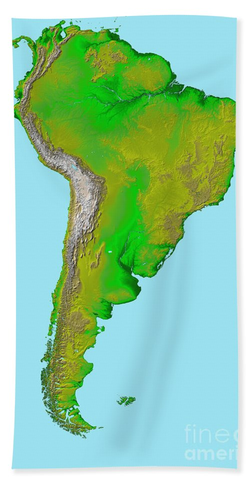 Color Image Beach Towel featuring the photograph Topographic View Of South America by Stocktrek Images
