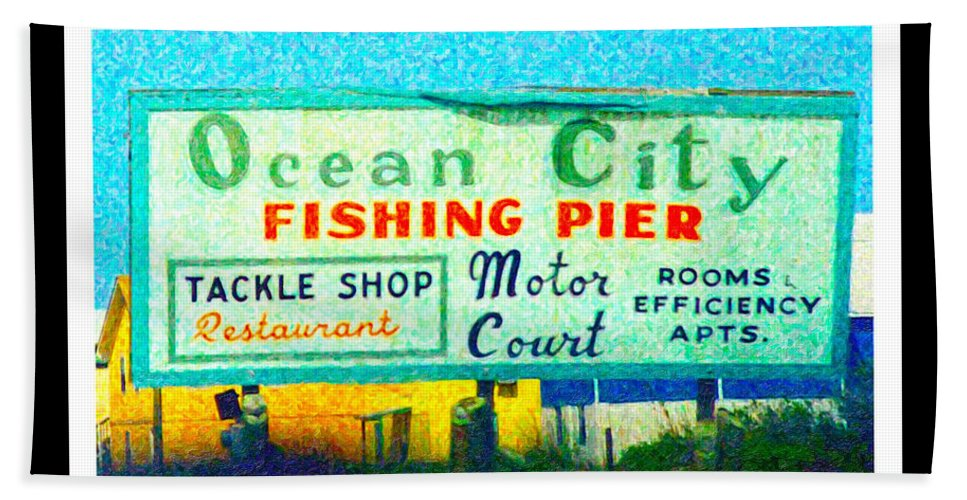 Ocean Beach Towel featuring the digital art Topsail Island Old Sign by Betsy Knapp