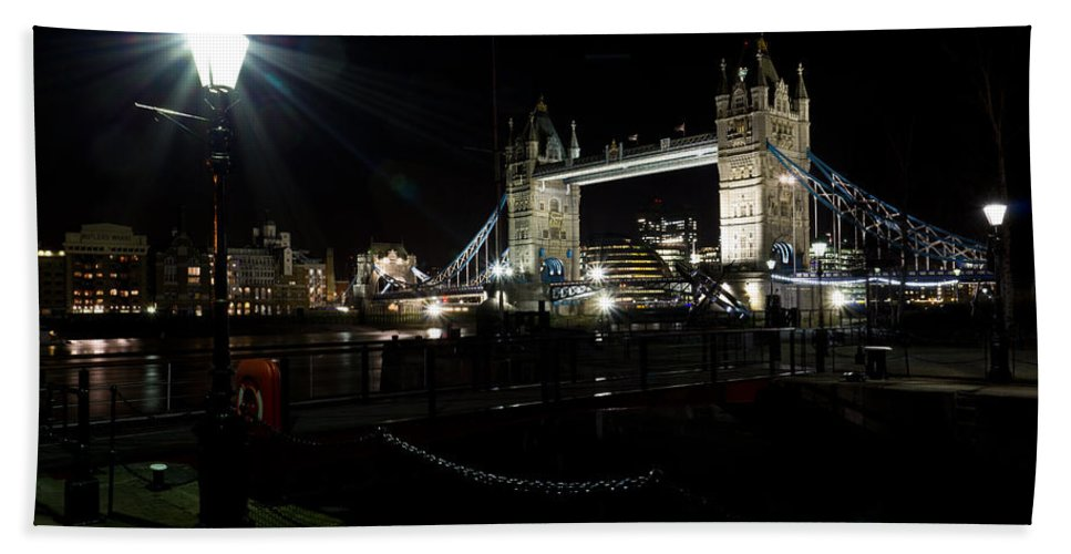 Tower Beach Towel featuring the photograph Tower Bridge And Riverside Night View by David Pyatt